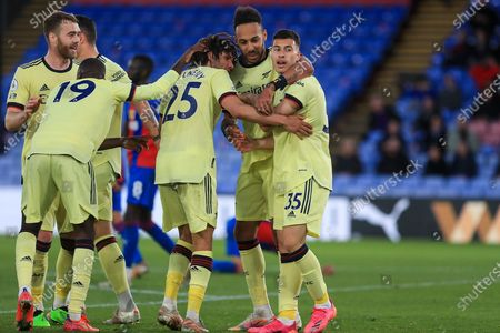 GOAL 1-2 scores and celebrates Arsenal striker Gabriel Martinelli (35) with Arsenal striker Pierre-Emerick Aubameyang (14) Arsenal midfielder Mohamed Elneny (25) during the Premier League match between Crystal Palace and Arsenal at Selhurst Park, London