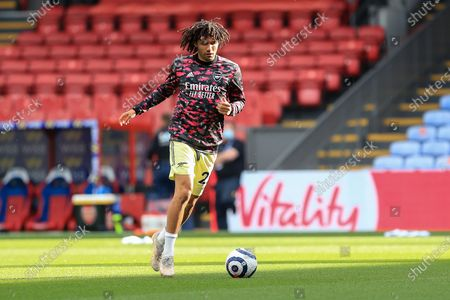 Arsenal midfielder Mohamed Elneny (25) warm up during the Premier League match between Crystal Palace and Arsenal at Selhurst Park, London