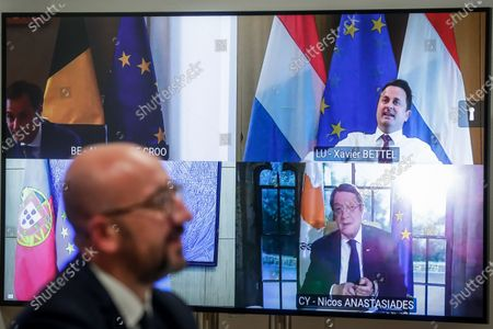 European Council President Charles Michel chats with Belgian Prime Minister Alexander De Croo , Luxembourg's Prime Minister Xavier Bettel, Portugese Prime Minister Antonio Costa and  Cyprus President of the Republic Nicos Anastasiades during a video conference meeting at the European Council building in Brussels, Belgium, 19 May 2021. The EU Council president prepares for the European summit taking place on 24 and 25 May 2021.