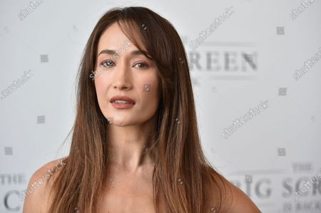 """Maggie Q arrives at The Big Screen is Back"""" media event, including ten studios convening to showcase a sampling of their summer movie releases,, at AMC Century City 15 in Los Angeles"""