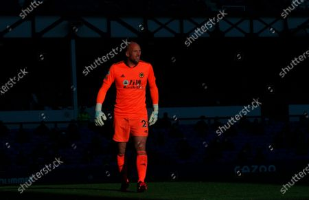 Wolverhampton Wanderers' goalkeeper John Ruddy in action during the English Premier League soccer match between Everton FC and Wolverhampton Wanderers in Liverpool, Britain, 19 May 2021.