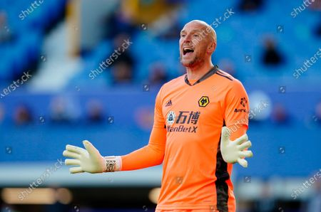 Stock Image of Wolverhampton Wanderers' goalkeeper John Ruddy reacts during the English Premier League soccer match between Everton FC and Wolverhampton Wanderers in Liverpool, Britain, 19 May 2021.