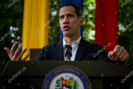 The Venezuelan opposition leader Juan Guaido offers a press conference in Caracas, Venezuela, 19 May 2021. Guaido said that 'the sovereignty' of Venezuela is 'exposed and violated' due to the 'negligence and complicity' of President Nicolas Maduro, whom he repeatedly pointed out of putting the country at risk due to his relations with guerrilla groups of the FARC.