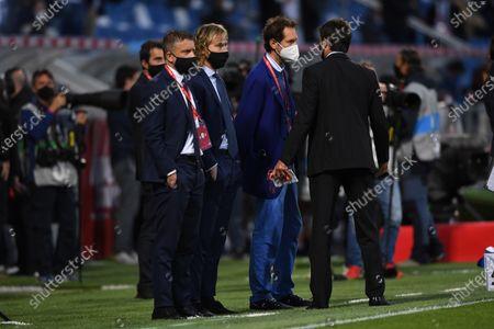 "Fabio Paratici (Juventus) Pavel Nedved (Juventus) John Elkann (Juventus) Andrea Agnelli (Juventus)    during the Italian ""Serie A Italy Cup  match between Atalanta 1-2 Juventus at  Mapei Stadium  on May. 19, 2021 in Reggio Emilia, Italy."