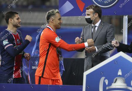 President of France Emmanuel Macron salutes goalkeeper of PSG Keylor Navas, Mauro Icardi of PSG (left)