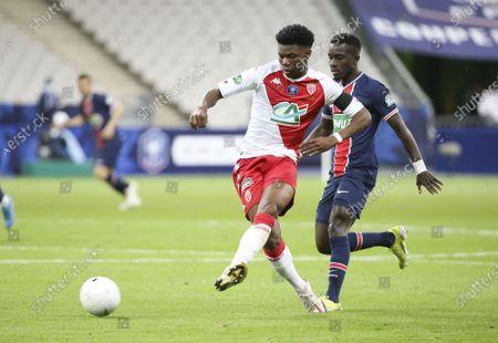Aurelien Tchouameni of Monaco, Idrissa Gueye Gana of PSG