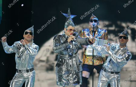 """Verka Serduchka from the Ukraine sings 'Dancing Lasha Tumbai' at a dress rehearsal for the 2007 Eurovision Song Contest, in Helsinki, Finland. The coronavirus pandemic canceled the contest in 2020 for the first time in six decades, but now it's back. On Saturday performers from 26 countries will vie for Eurovision victory in a live televised final in the Dutch city of Rotterdam. The prize is glory for the winning nation, though rarely mega-stardom for the victorious act. A few international stars have emerged from Eurovision's sequinned ranks, including Swedish pop titans ABBA - victors in 1974 with """"Waterloo"""" - and Canadian chanteuse Celine Dion, who won the 1988 contest for Switzerland"""