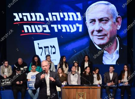 Stock Picture of Yoav Galant, Israeli, an Israeli Likud party politician, a former commander of the Southern Command in the Israel Defense Forces, and Minister of Aliyah and Integration, speaks ahead of Prime Minister Benjamin Netanyahu arrival at a Likud party rally in Ramat Gan, ahead of the upcoming election, on March 2nd. On Saturday, February 29, 2020, in Ramat Gan, Tel Aviv, Israel.