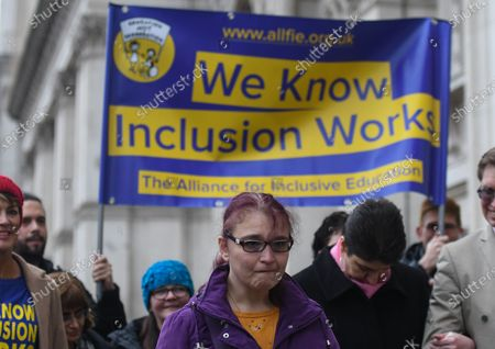 Members and supporters of the Alliance for Inclusive Education (ALLFIE) on their way to deliver their petition with 100 000+ signatures to the steps of Downing Street. They are calling on the UK Government to stop shutting disabled people out of mainstream education.On Thursday, 23 January 2019, in London, United Kingdom.