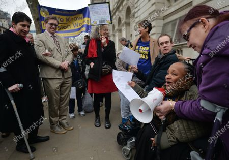 Members and supporters of the Alliance for Inclusive Education (ALLFIE) on their wat to deliver their petition with 100 000+ signatures to the steps of Downing Street. They are calling on the UK Government to stop shutting disabled people out of mainstream education.On Thursday, 23 January 2019, in London, United Kingdom.