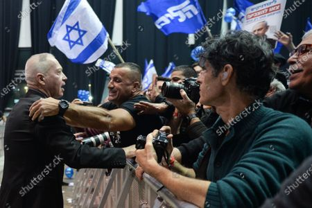 Yoav Galant, an Israeli Minister of Aliyah and Integration, celebrates ahead of Israeli Prime Minister Benjamin Netanyahu address to supporters following the announcement of exit polls in Israel's election at his Likud party headquarters in Tel Aviv.On Tuesday, March 3, 2020, in Tel Aviv, Israel.