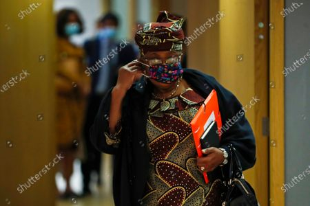 World Trade Organization Director-General Ngozi Okonjo-Iweala, wearing a protective face mask to prevent the spread of the COVID-19, arrives to a European Foreign Trade ministers meeting at the European Council headquarters in Brussels, Belgium, 20 May 2021.