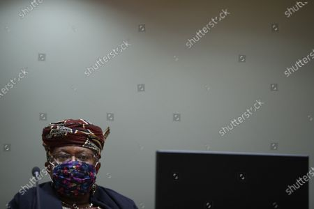 World Trade Organization Director-General Ngozi Okonjo-Iweala, wearing a protective face mask to prevent the spread of the COVID-19, attends a European Foreign Trade ministers meeting at the European Council headquarters in Brussels, Belgium, 20 May 2021.