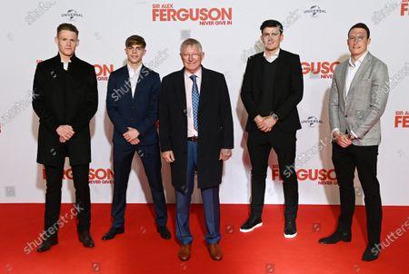 Scott McTominay, Brandon Williams, Sir Alex Ferguson, Harry Maguire and Phil Jones