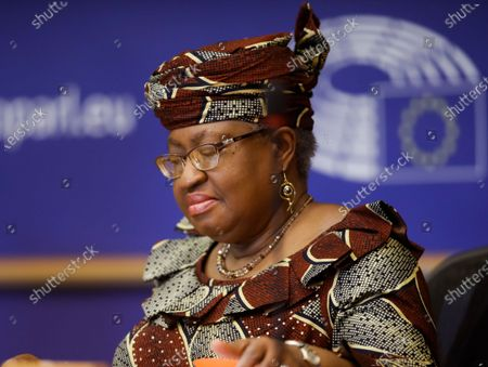 Director-General of the World Trade Organization (WTO) Ngozi Okonjo-Iweala attends a debate of the European Parliament's Committee on International Trade (INTA) in Brussels, Belgium, 20 May 2021.