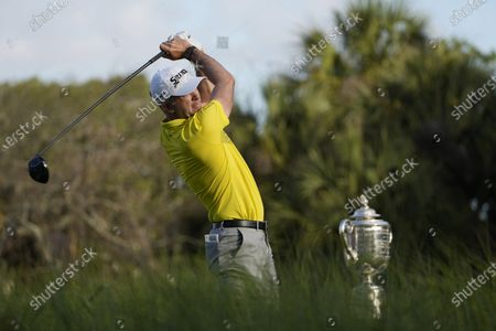 Martin Laird, of Scotland, watches his tee shot on the first tee during the first round of the PGA Championship golf tournament on the Ocean Course, in Kiawah Island, S.C