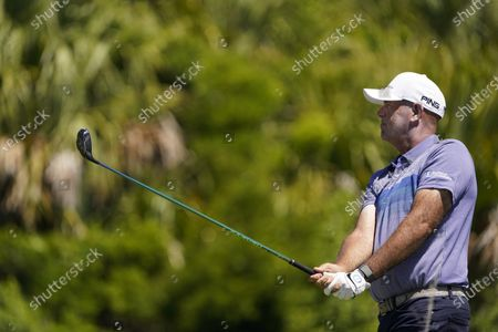 Stewart Cink watches his tee shot on the 12th hole during the first round of the PGA Championship golf tournament on the Ocean Course, in Kiawah Island, S.C