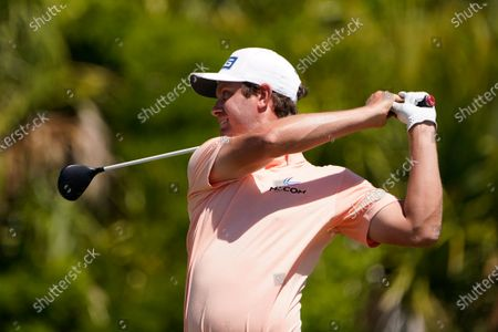 Harris English watches his tee shot on the 12th hole during the first round of the PGA Championship golf tournament on the Ocean Course, in Kiawah Island, S.C