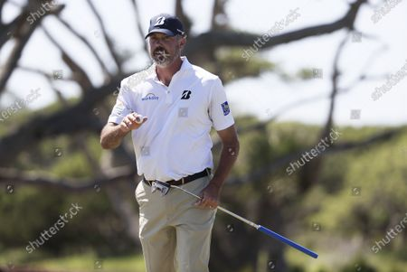 Matt Kuchar of the US reacts after putting on the third hole during the first round of the 2021 PGA Championship golf tournament on the Ocean Course at Kiawah Island, South Carolina, USA, 20 May 2021. The PGA Championship runs from 20 May through 23 May.