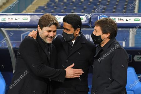Mauricio Pochettino, Leonardo and Nasser Al Khelaifi after the French Cup final soccer match between Paris Saint Germain and Monaco at the Stade de France stadium, in Saint Denis, north of Paris, Wednesday, May 19, 2021.