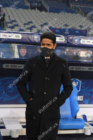 Nasser Al Khelaifi after the French Cup final soccer match between Paris Saint Germain and Monaco at the Stade de France stadium, in Saint Denis, north of Paris, Wednesday, May 19, 2021.