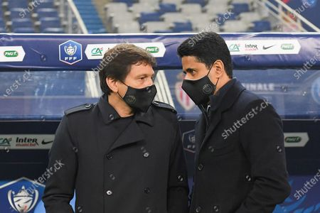 Leonardo and Nasser Al Khelaifi after the French Cup final soccer match between Paris Saint Germain and Monaco at the Stade de France stadium, in Saint Denis, north of Paris, Wednesday, May 19, 2021.