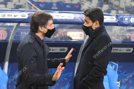 Stock Photo of Leonardo and Nasser Al Khelaifi after the French Cup final soccer match between Paris Saint Germain and Monaco at the Stade de France stadium, in Saint Denis, north of Paris, Wednesday, May 19, 2021.