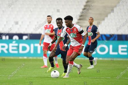 Idrissa Gueye and Aurelien Tchouameni during the French Cup final soccer match between Paris Saint Germain and Monaco at the Stade de France stadium, in Saint Denis, north of Paris, Wednesday, May 19, 2021.