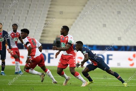 Idrissa Gueye, Guillermo Maripan and Aurelien Tchouameni during the French Cup final soccer match between Paris Saint Germain and Monaco at the Stade de France stadium, in Saint Denis, north of Paris, Wednesday, May 19, 2021.