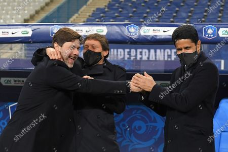 Stock Image of Mauricio Pochettino, Leonardo and Nasser Al Khelaifi after the French Cup final soccer match between Paris Saint Germain and Monaco at the Stade de France stadium, in Saint Denis, north of Paris