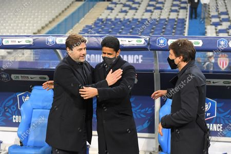 Stock Picture of Mauricio Pochettino, Leonardo and Nasser Al Khelaifi after the French Cup final soccer match between Paris Saint Germain and Monaco at the Stade de France stadium, in Saint Denis, north of Paris