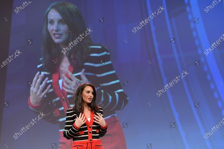 Stock Image of Molly Bloom, an American entrepreneur, former Poker Princess and bestselling author Of Molly's Game, seen at Pendulum Summit, World's Leading Business and Self-Empowerment Summit, in Dublin Convention Center. On 8 January 2020, in Dublin, Ireland.
