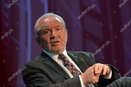 Stock Image of Lord Alan Sugar, Business Titan And Star Of The Apprentice UK, speaks at Pendulum Summit, World's Leading Business and Self-Empowerment Summit, in Dublin Convention Center. On Thursday, January 10, 2019, in Dublin, Ireland.  On Wednesday, 8 January 2020, in Dublin, Ireland.