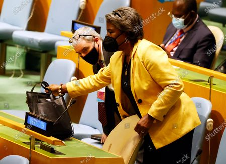 United States ambassador Linda Thomas-Greenfield (C) arrives to the General Assembly hall during a meeting on the situation in the Middle East, including the Palestinian question, at United Nations Headquarters in New York, New York, USA, 20 May 2021.