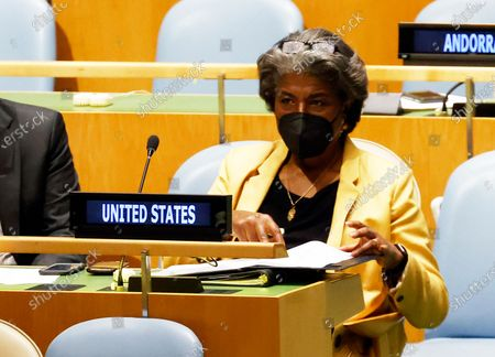 United States ambassador Linda Thomas-Greenfield (C) sits inside the General Assembly hall during a meeting on the situation in the Middle East, including the Palestinian question, at United Nations Headquarters in New York, New York, USA, 20 May 2021.