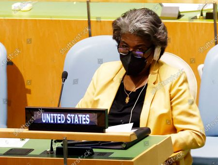 United States ambassador Linda Thomas-Greenfield sits inside the General Assembly hall during a meeting on the situation in the Middle East, including the Palestinian question, at United Nations Headquarters in New York, New York, USA, 20 May 2021.