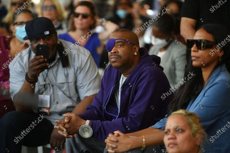 Stock Photo of Slick Rick delivers remarks at the groundbreaking of Bronx Point and the Universal Hip Hop Museum in the Bronx in New York.