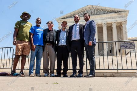 Ben Cohen (center left) and Jerry Greenfield (center right), co-founders of Ben & Jerry's Ice Cream, host an event at the US Supreme Court urging an end to qualified immunity for police.
