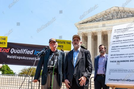 Ben Cohen (left) and Jerry Greenfield (center), co-founders of Ben & Jerry's Ice Cream, host an event at the US Supreme Court urging an end to qualified immunity for police.