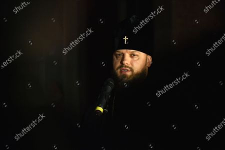 Abbot of St. Michael's Golden-Domed Monastery Ahapit is seen during the opening of the Chaplains exhibition at the National Museum of the History of Ukraine in the Second World War Memorial Complex, Kyiv, capital of Ukraine