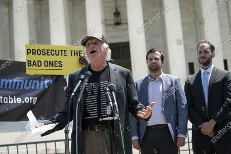 """Ben Cohen, co-founder of Ben & Jerry's Ice Cream, speaks during a news conference outside of the Supreme Court of the United States on Capitol Hill in Washington, DC on Thursday, May 20, 2021. Cohen and Jerry Greenfield held a news conference to give out ice cream and """"demand Congress pass meaningful police reform and end qualified immunity."""""""