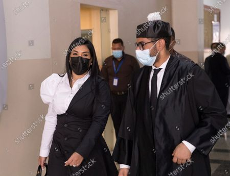 Fary Almanzar, ex-girlfriend of Former Dominican baseball player David 'Big Papi' Ortiz, attends a hearing at the National District Court of Appeal, in Santo Domingo, Dominican Republic, 20 May 2021. Ortiz's lawyers on 20 May filed an appeal filed against the decision of the Fifth Investigating Court to continue with the case of domestic violence and violence against women allegedly committed against his former partner Fary Almanzar.