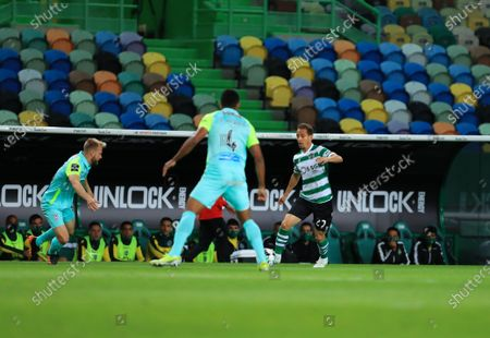 Joao Pereira of Sporting CP in action during the Liga NOS match between Sporting CP and CS Maritimo at Estadio Jose Alvalade on May 19, 2021 in Lisbon, Portugal.