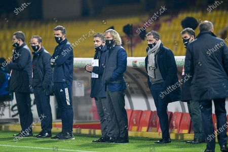 Pavel Nedved of Juventus FC looks on with Federico Cherubini and Fabio Paratici during the Serie A match between Benevento Calcio and Juventus FC at Stadio Ciro Vigorito, Benevento, Italy on 28 November 2020.
