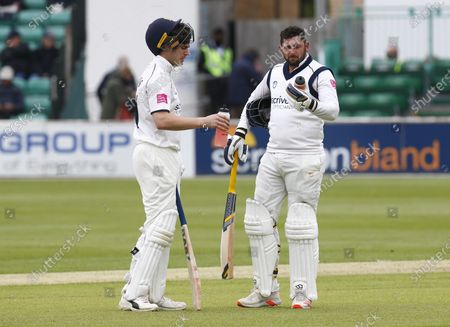 L-R Michael Burgess of Warwickshire CCC and Tim Bresnan of Warwickshire CCC  during   LV Insurance County Championship Group 1 Day One of Four between Essex CCC and Warwickshire  CCC at The Cloudfm County Ground on 20th May , 2021 in Chelmsford, England