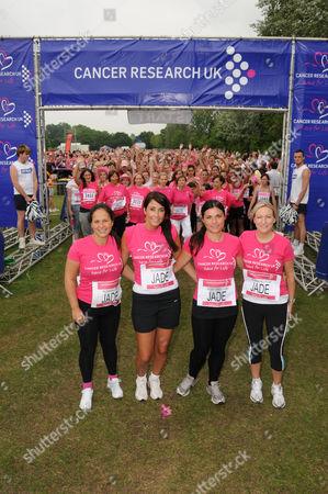 Jade Goody's bridesmaids line up for the start - L-R: Charlene Hull, Jennifer Smith, Caroline Roberts, Kate Jackson