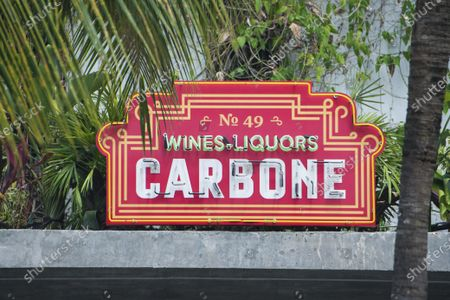 Signage outside of restaurant Carbone, in Miami Beach, Fla