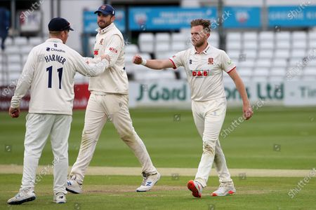 Sam Cook of Essex celebrates taking the wicket of Tim Bresnan during Essex CCC vs Warwickshire CCC, LV Insurance County Championship Group 1 Cricket at The Cloudfm County Ground on 21st May 2021