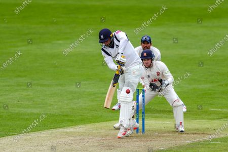 Warwickshire's Tim Bresnan defends during the LV= County Championship match between Essex and Warwickshire County Cricket Club at the Cloudfm County Ground,, Chelmsford on Thursday 20th May 2021.