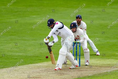 Warwickshire's Tim Bresnan defends the spinner  during the LV= County Championship match between Essex and Warwickshire County Cricket Club at the Cloudfm County Ground,, Chelmsford on Thursday 20th May 2021.